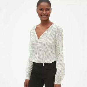 Gap White Black Stars Split Neck Top Womens Medium